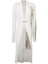 Isabel Benenato Long Brushstroke Cardigan Women Cotton 42 White