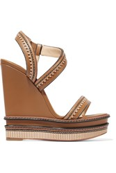 Christian Louboutin Trepi 140 Scalloped Leather Wedge Sandals Brown