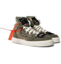 Off White Court Leather And Suede High Top Sneakers Army Green