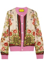 Gucci For Net A Porter Floral Print Silk And Wool Blend Cardigan Pink