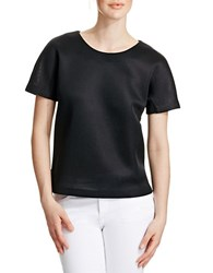 424 Fifth Structured Bonded Mesh Tee Black