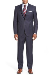 Men's Big And Tall David Donahue 'Ryan' Classic Fit Stripe Wool Suit Navy