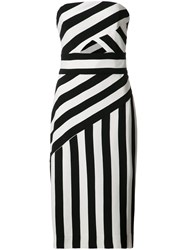 Milly Cut Out Detail Striped Dress Black