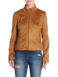 French Connection Fringe Faux Suede Jacket Cognac