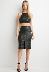 Forever 21 Contemporary Sequin Pencil Skirt Black