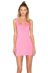 Bobi Light Weight Jersey Open Back Sleeveless Mini Dress Pink