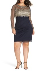 Xscape Evenings Plus Size Embellished Mesh And Jersey Cocktail Dress Navy Gold