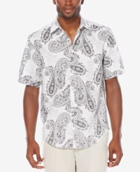 Cubavera Men's Short Sleeve Paisley Print Shirt Bright White