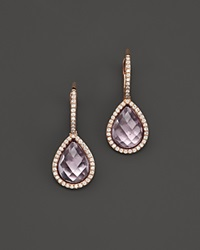 Bloomingdale's Amethyst And Diamond Drop Earrings In 14K Rose Gold Purple Pink