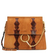 Chloe Faye Leather And Suede Shoulder Bag Brown