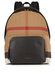 Burberry Canvas Check And Leather Backpack Brown Multi