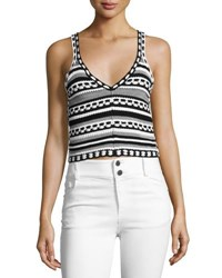 Alice Olivia Sandrine Crochet Crop Tank Black White Multi