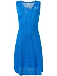 M Missoni Sleeveless Zig Zag Dress Women Polyester Viscose Virgin Wool 46 Blue