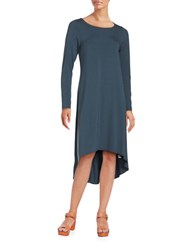 Eileen Fisher Petite Solid Long Sleeve High Low Shift Dress Fir