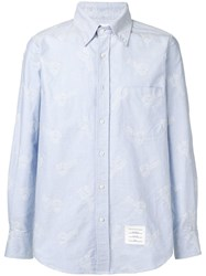 Thom Browne Embroidered Lobster Oxford Shirt Blue