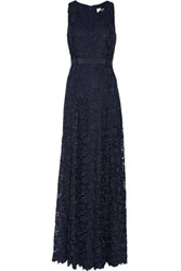 Mikael Aghal Corded Lace Gown Midnight Blue