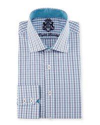 English Laundry Check Woven Dress Shirt Blue Light Blue