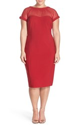 Plus Size Women's Maggy London Illusion Yoke Crepe Sheath Dress Persian Red