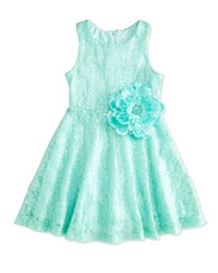Lipstik Sequined Lace Dress Aqua