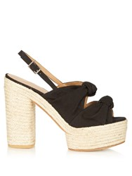 Castaner Abbey Knotted Canvas Platform Sandals Black