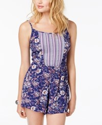 As U Wish Juniors' Printed Romper Navy Ivory