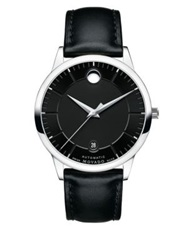Movado Bold 1881 Automatic Stainless Steel And Leather Strap Watch Black