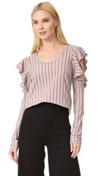Opening Ceremony Stripe Long Sleeve Tee Heather Grey Multi