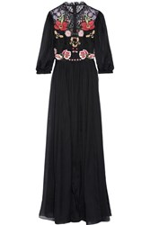 Temperley London Aura Embroidered Silk Blend Chiffon And Lace Gown Black