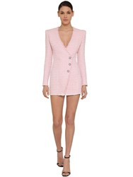 Balmain Wrapped Tweed Mini Dress Pink