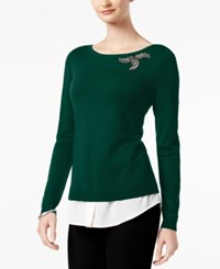 Charter Club Layered Look Brooch Sweater Created For Macy's Luxe Green