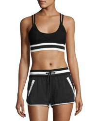 Blanc Noir Ballet Wrap Sports Bra Top Black