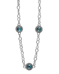 Lagos Sterling Silver Maya Escape Chrysocolla Five Stone Doublet Station Necklace 20 Teal Silver