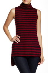 Painted Threads Sleeveless Turtleneck Hi Lo Sweater Red