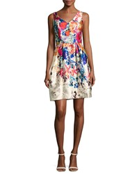 David Meister V Neck Floral Border Print Cocktail Dress Multi
