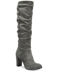 Nine West Shiryl Slouch Dress Boots Women's Shoes Gray Suede
