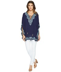 Hale Bob Seas The Day Embroidered Crinkle Rayon Gauze Tunic Navy Women's Clothing