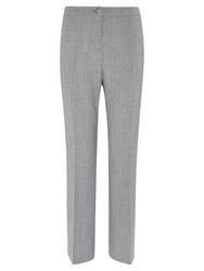 Viyella Wool Blend Straight Leg Trousers Long Silver Grey