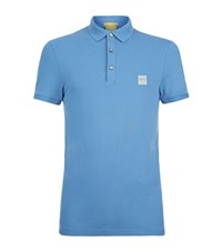 Boss Orange Logo Stretch Polo Shirt Male Blue
