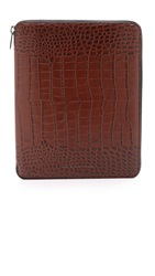 Marc By Marc Jacobs Embossy Croc Portfolio Dark Sepia Brown