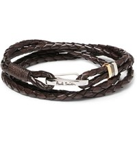 Paul Smith Woven Leather Wrap Bracelet Brown