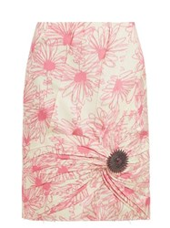Calvin Klein 205W39nyc Brooch Embellished Floral Print Silk Skirt Pink White