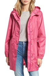Joules Right As Rain Packable Print Hooded Raincoat Raspberry Bircham Bloom