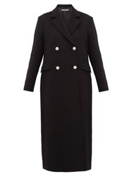 Alessandra Rich Double Breasted Crystal Button Wool Blend Coat Black