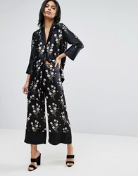 Warehouse Floral Silk Cropped Wide Leg Trousers Black