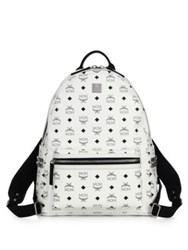 Mcm Stark Side Stud Coated Canvas Monogram Backpack White