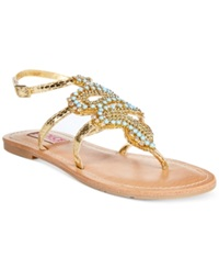 Dolce By Mojo Moxy Cleopatra Beaded Flat Thong Sandals Women's Shoes Gold
