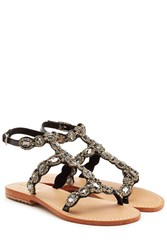 Mystique Embellished Leather Sandals Black