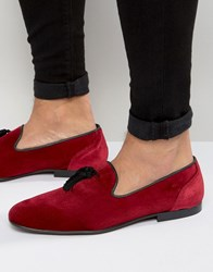 Asos Tassel Loafer In Burgundy Velvet Burgundy Red