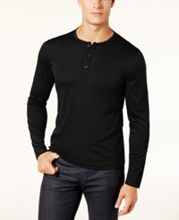 Alfani Men's Soft Touch Stretch Henley Created For Macy's Deep Black
