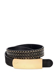 Giuseppe Zanotti 30Mm Studded Leather Belt Black